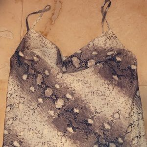 Nasty gal snake skin tank with drop neck
